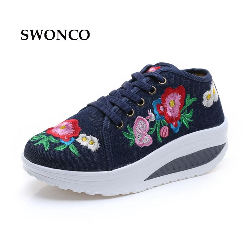 98b91f262326 2019 SWONCO Women's Vulcanize Shoes 2018 Fashion Floral Embroidery ...