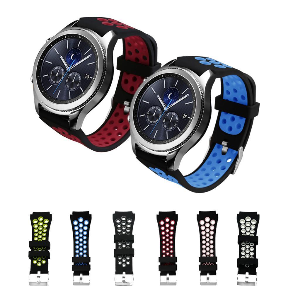 d04de154399 Compre Banda Esporte Para Samsung Engrenagem S3 Fronteira   Clássico  Pulseira De Relógio Inteligente Pulseira De Silicone Cinto De Pulso  Smartwatch ...