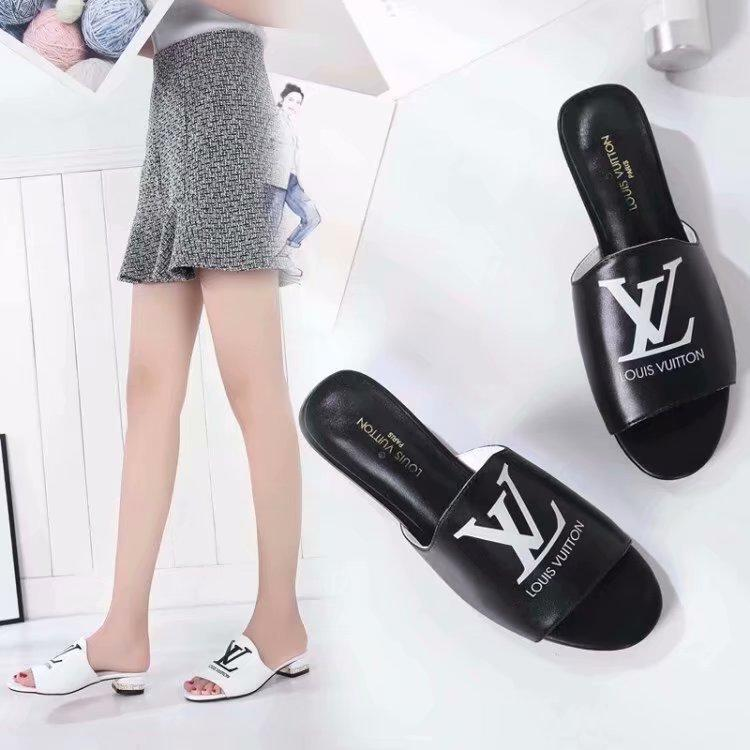 b4b57cc380c9cc Top Quality Luxury Women Letter Printing Diamond Casual Slippers Genuine  Leather BOM DIA Flat Bottom Sandals 1A4FPM With Box Happy Feet Slippers  Grey Boots ...