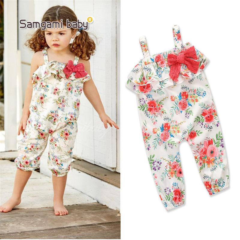 229cbe4ab270 Baby Clothes Girl s Floral Jumpsuit Suspender Trousers Pant Cotton ...