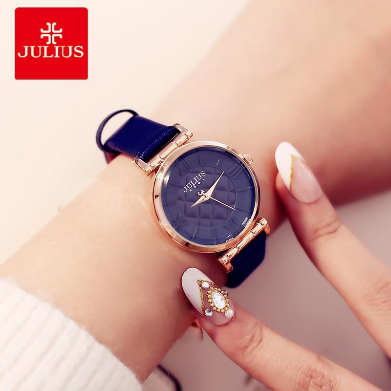 2b282d1f431e Compre Julius Marca Mujeres Relojes Correa De Cuero De Moda Dial Redondo  Reloj De Señoras Reloj Numeral Reloj De Pulsera De Cuarzo Femenino Reloj  Mujer A ...