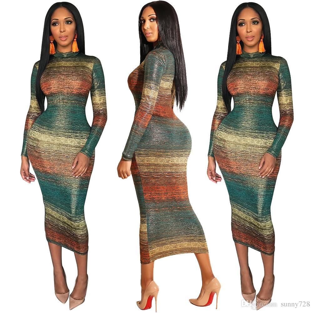 f5c6451d0ec96 2019 2018 Fall Winter Latest Striped Gradient Printing Sexy Women Party  Dress Stand Neck Long Sleeves Mid Calf Bandage Dress Night Out Dress From  Sunny728, ...
