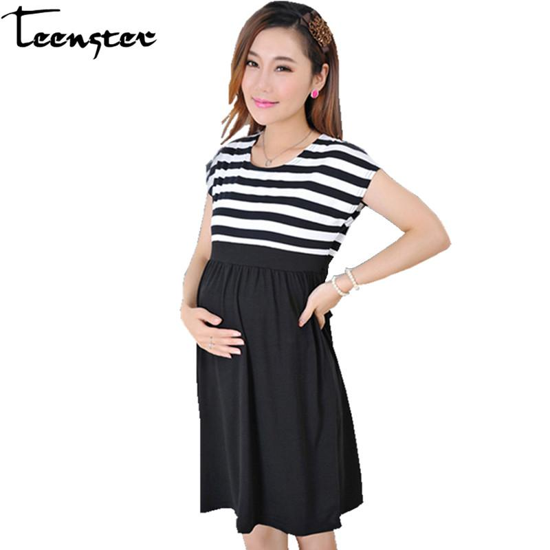 Teenster Maternity Clothing Plus Size Dresses For Pregnant Women Fashion Short Sleeve Stripes Cotton Dress Clothes Pregnancy
