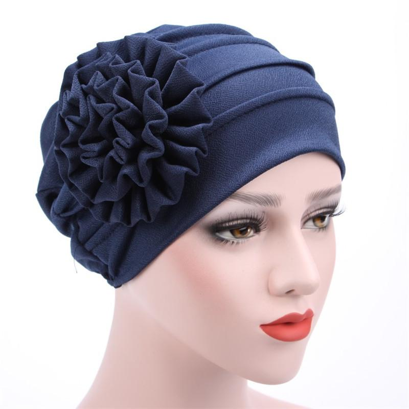 Titmsny Large Flower Turban Muslim Caps Fashion Women Flower Ruffle