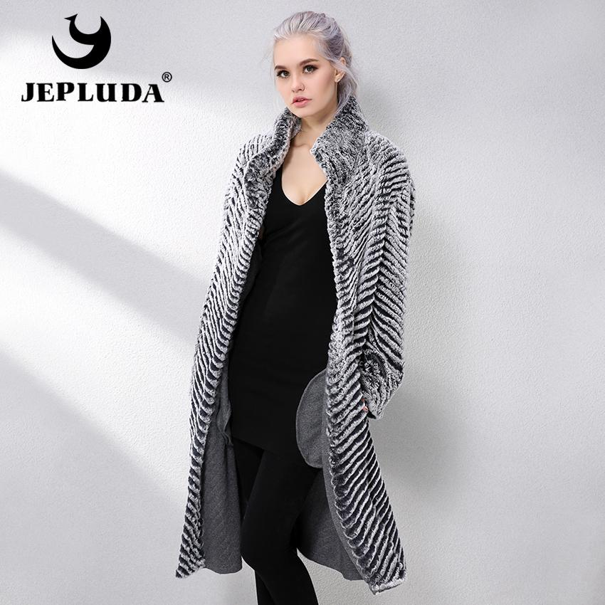 e26cfb1809a6 JEPLUDA New Real Fur Coat Double Sided Wool Blends Cloak Knitting Natural  Real Rex Rabbit Fur Coat Genuine Leather Jacket Women C18111501 Waterproof  Jackets ...