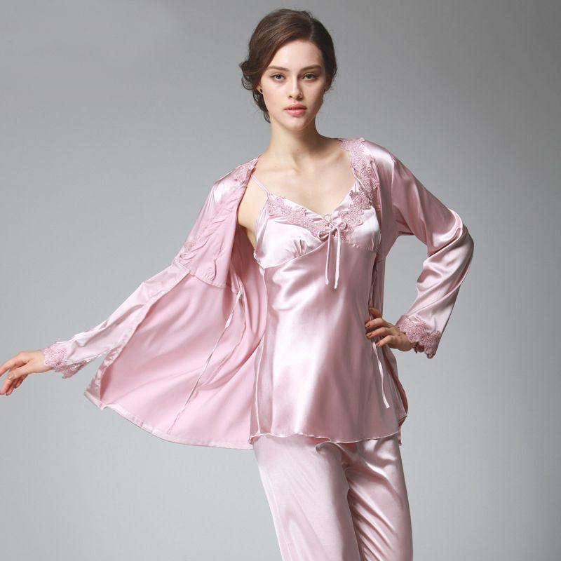09f326ca95 PS036 Ladies Satin Silk Pyjamas Female Sexy Lace V Neck Pajama Set Plus  Size Full Sleeve Spaghetti Strap Pant Nightwear Y18102205 Lingrie Luxury  Lingerie ...