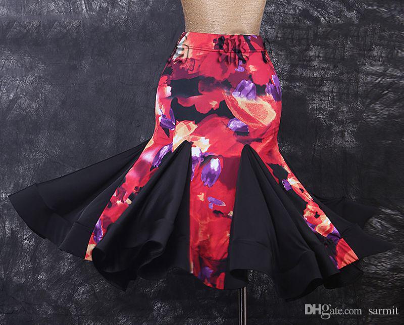 Falda de baile latino Desgaste de la danza Exquisita calidad D328 Patchwork es estampado floral con volantes dobladillo mullido