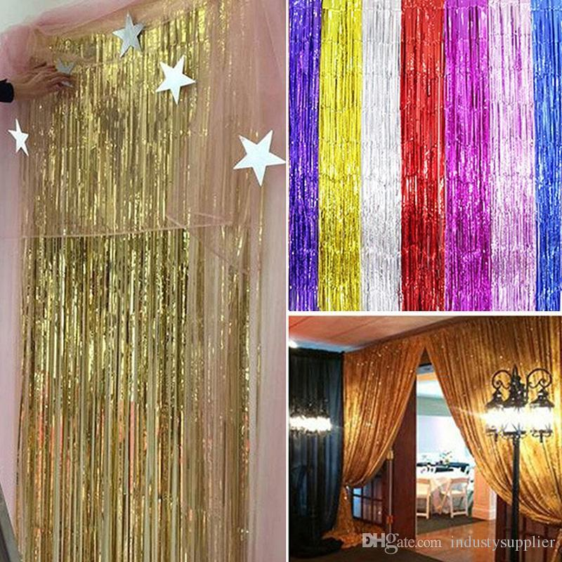 2018 Stage Fringe Curtains Home Room Door Decoration Metallic Party Wedding Foil Tinsel Wall Decor From Industysupplier