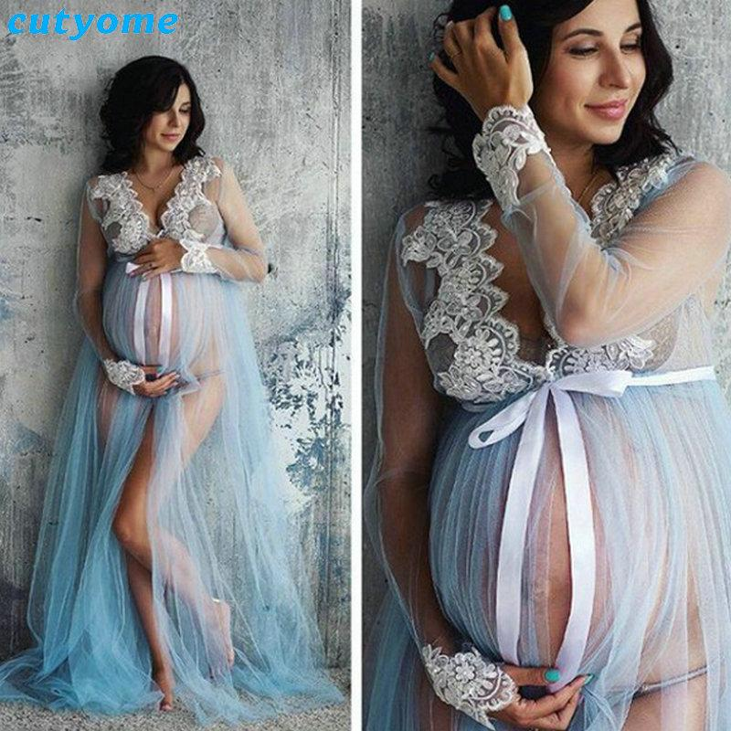2d130732db Maternity Photography Props Lace Dress Long Sleeve Maxi Pregnant ...