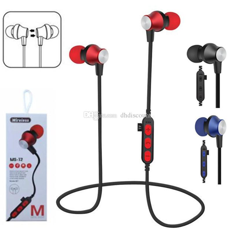MS-T2 Cuffie Bluetooth Sweatproof Sport Auricolari Bluetooth senza fili Bluetooth Card TF Card attrazione magnetica Auricolari iphone X 8 samsung