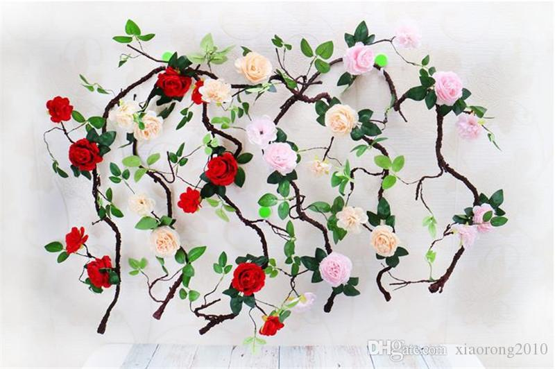 Fake Peony Vine Simulation Round Peonia Flower Rattan Foam Root Vines for Wedding Home Showcase Decorative Artificial Flower Rattans