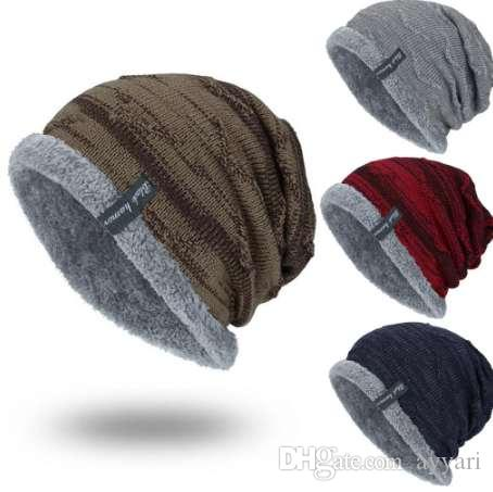 4a0740490f4 FASHION Boys Men Winter Hat Knit Scarf Cap Men Caps Warm Fur ...