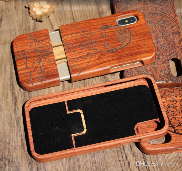Newest Popular Wood Engraving Phone Case For Iphone X 10 6 6S 7 8 plus 5 5s SE Natural Total Wooden Bamboo Hard Cases Cover For Samsung S9