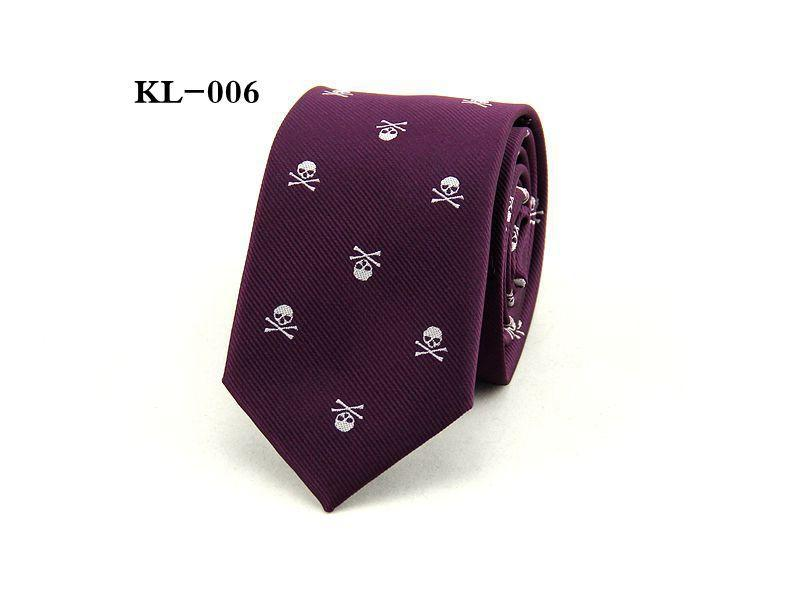 men's skull tie skinny 6cm leisure necktie cartoon party wedding casual polyester neckties 1200 thick business red black purple