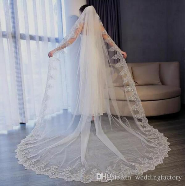 Impresionantes velos de boda largas lentejuelas formales encaje apliques apliques de boda tul tul tul bridal velos con peine