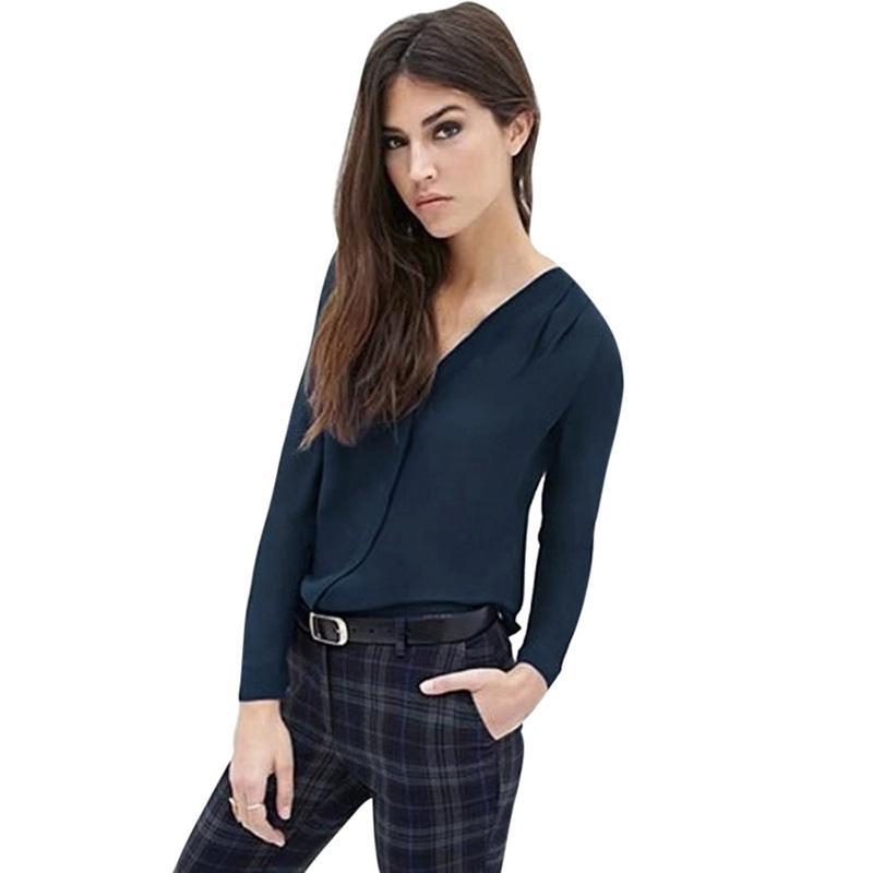 e2b59c6995d Plus Size Fashion Women Shirts V Neck Long Sleeve Chiffon Blouse 5XL ...