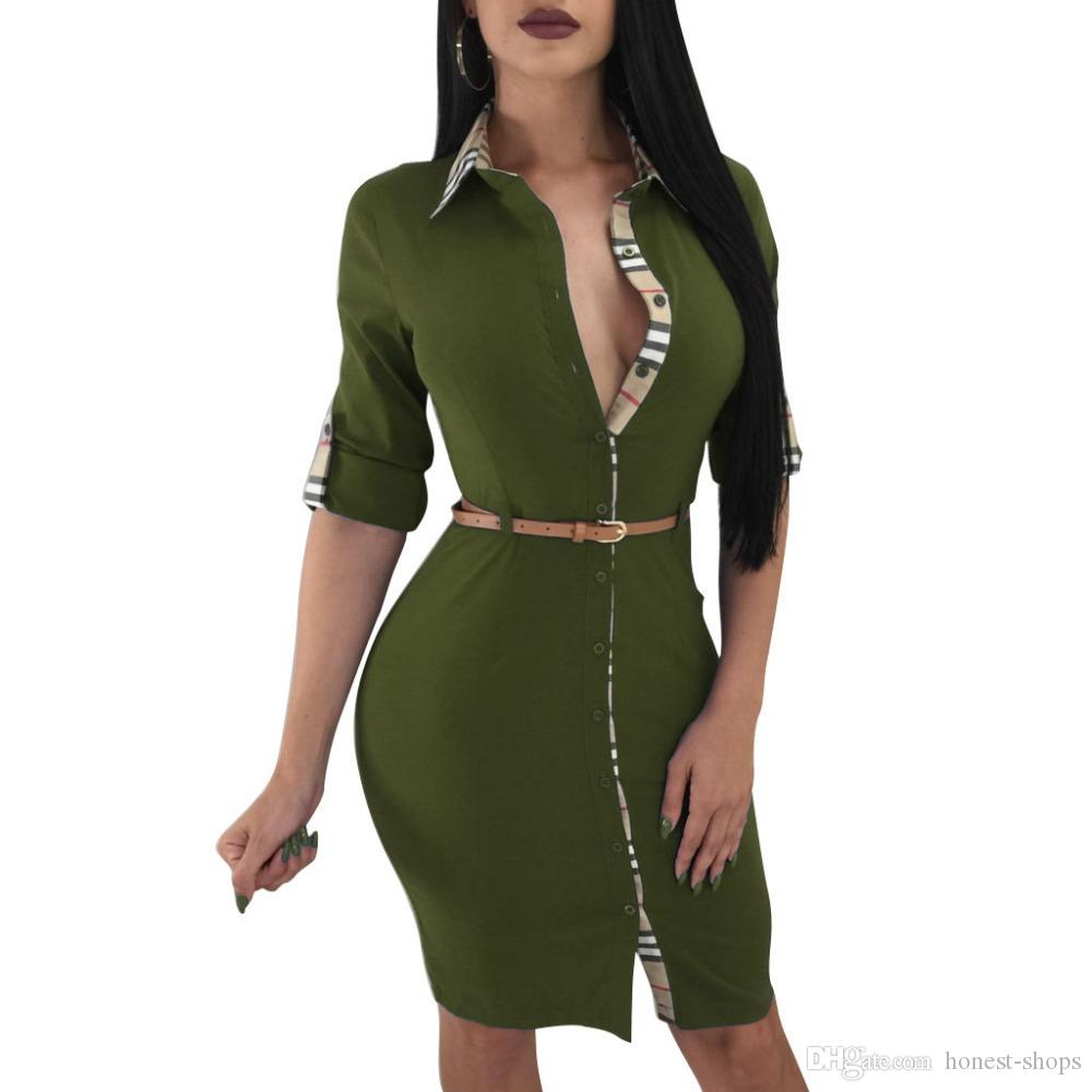 6b97f7319dafb 2018 New Women Dresses Long Sleeve Sexy Bandage Plaid Pencil Shirts Dresses  With Sashes Black Red Green Blue Online with  23.96 Piece on Honest-shops s  ...