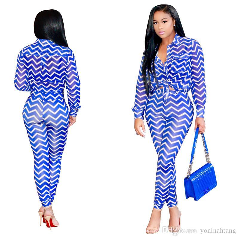 84a605cb6517 2019 Women Sexy Suit Set Tracksuit Black Blue Fashion Ladies Wave Print  Long Jumpsuit Rompers Bodycon Long Skinny Suits From Yoninahtang