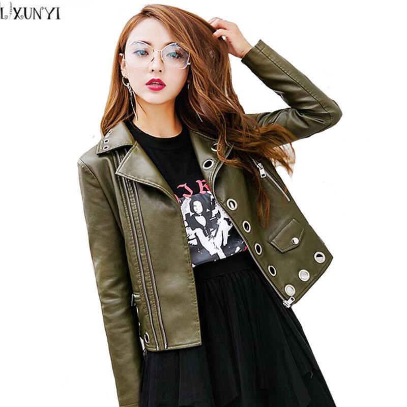 a997b783 LXUNYI High Quality Korean PU Slim ladies leather jackets Women Metal  Buckle Rivet Hollow Thin Biker jacket Autumn Coats Woman