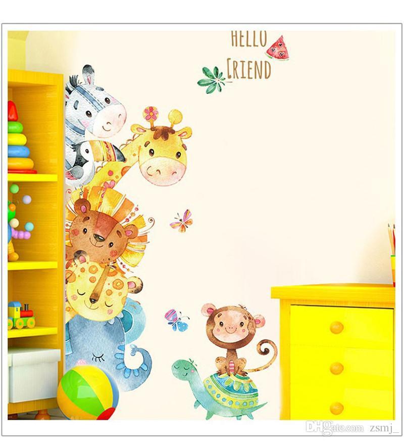 Bulk Lovely 78127cm HELLO FRIEND Wall Stickers Wallpaper Paper Peint 3d Home Decor Bathroom Kitchen Accessories Household Suppllies Quote Sticker