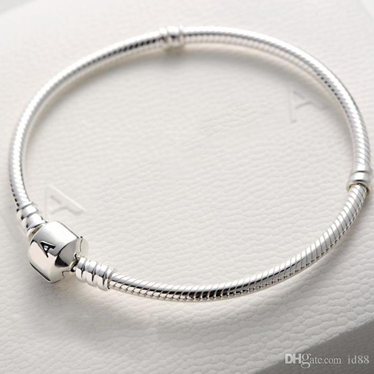 5626f6140 17 18 19 20 21 22CM Charm Bracelet 925 Sterling Silver 3mm Snake Chain Logo  Original Box For Pandora Women Men Bracelets Charm Silver Bracelet From  Id88, ...