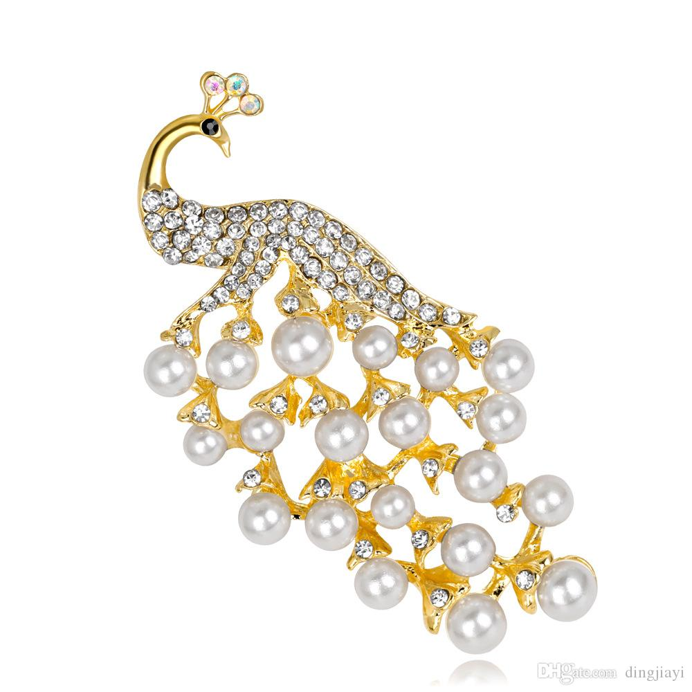 Düğün / Doğum Günü / Parti Aksesuarları Kadınlar Için Yeni Moda Büyüleyici Hayvan Kristal Rhinestone Peacock Inci Broş Takı