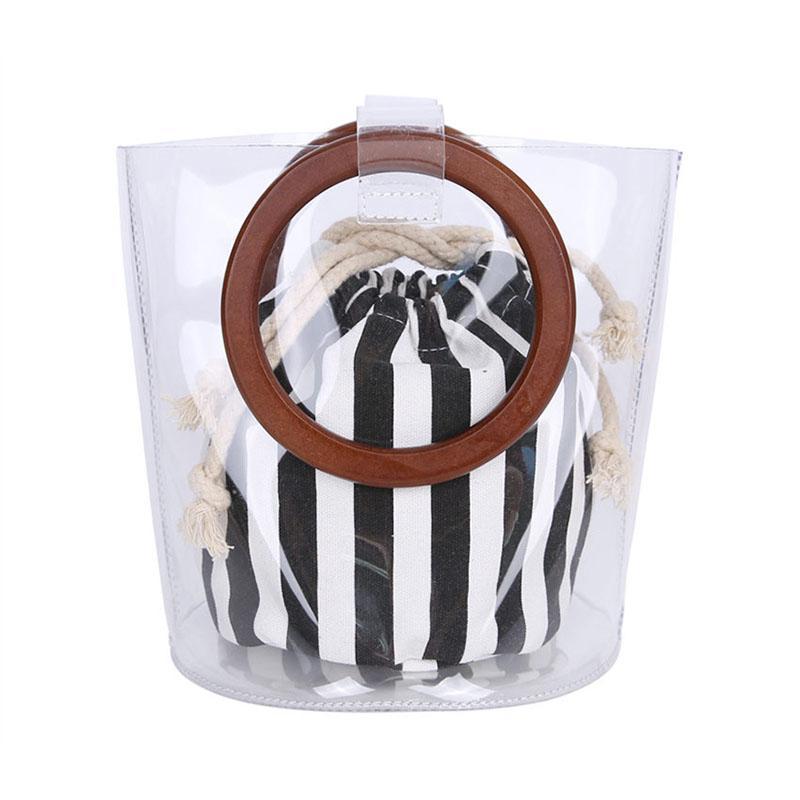 2018 Clear Transparent Bucket Pvc Bag Barrel Shaped Small Mini Wood Handle Handbags Women Fresh Summer Beach Bag Leisure Purses