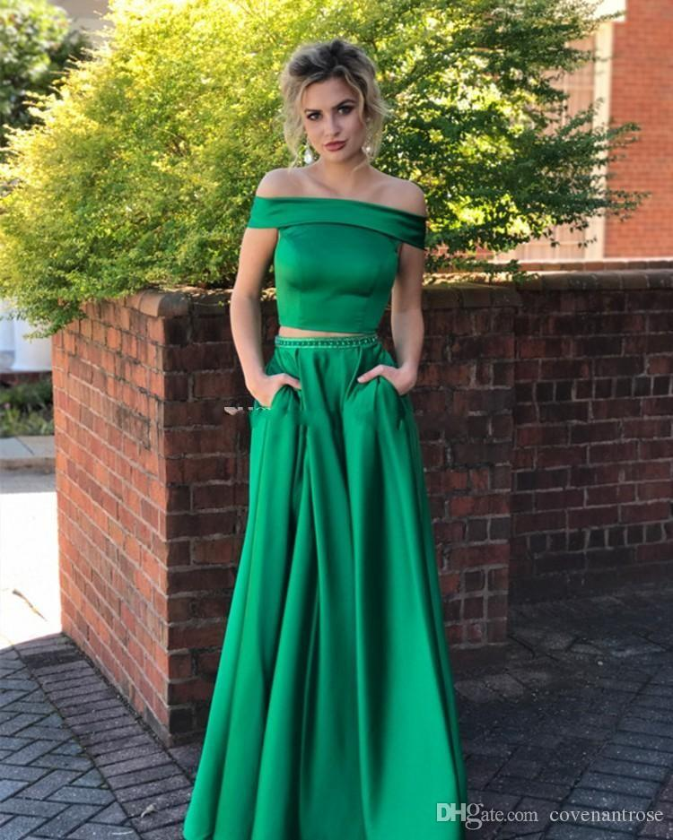 New Jade Green Two Piece Prom Dresses with Pockets Off The Shoulder Crystal Satin Floor Length Long Evening Dress Party Gowns