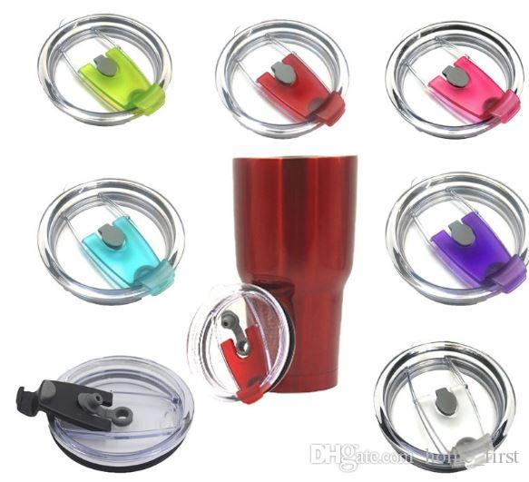 Newest Colorful Convenient Leakproof Splash Spill Proof Stemless Cups Lids Clear Spill Proof Lids Covers Tumblers Fits Cups Perfectly