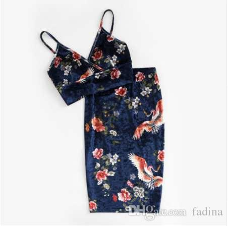 b3c48a80a1 2019 SHEIN Sexy Women Two Piece Set Elegant Navy Floral V Neck Sleeveless  Velvet Bralette Top And Pencil Skirt Co Ord From Fadina, $26.14 | DHgate.Com