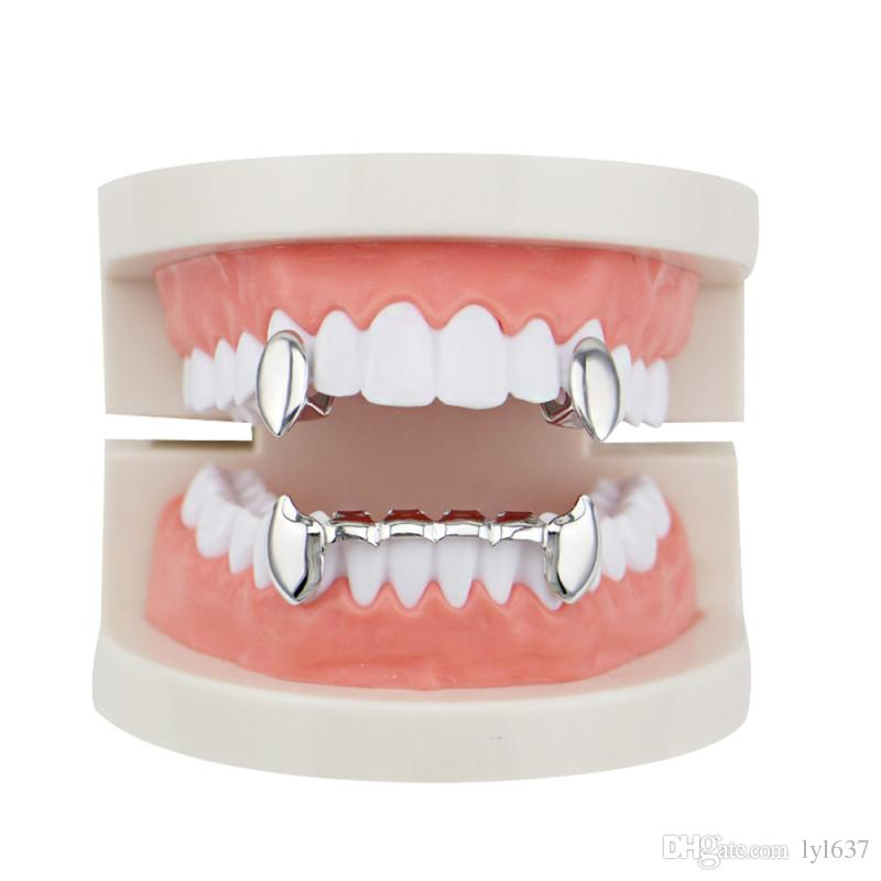 Glossy Copper Dental Grillz Punk Vampire Canine Teeth Jewelry Set Hip Hop Women & Men Gold Plated Grills Accessories Wholesale