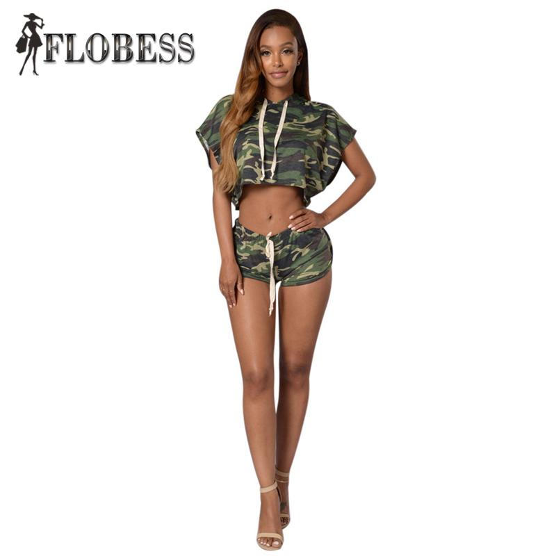 76411a7ec822e 2019 TOP Fashion Army Green Camouflage Set 2016 Women Casual Sexy Hooded  Batwing Sleeve Crop Top + Shorts Women Clothing From Beke