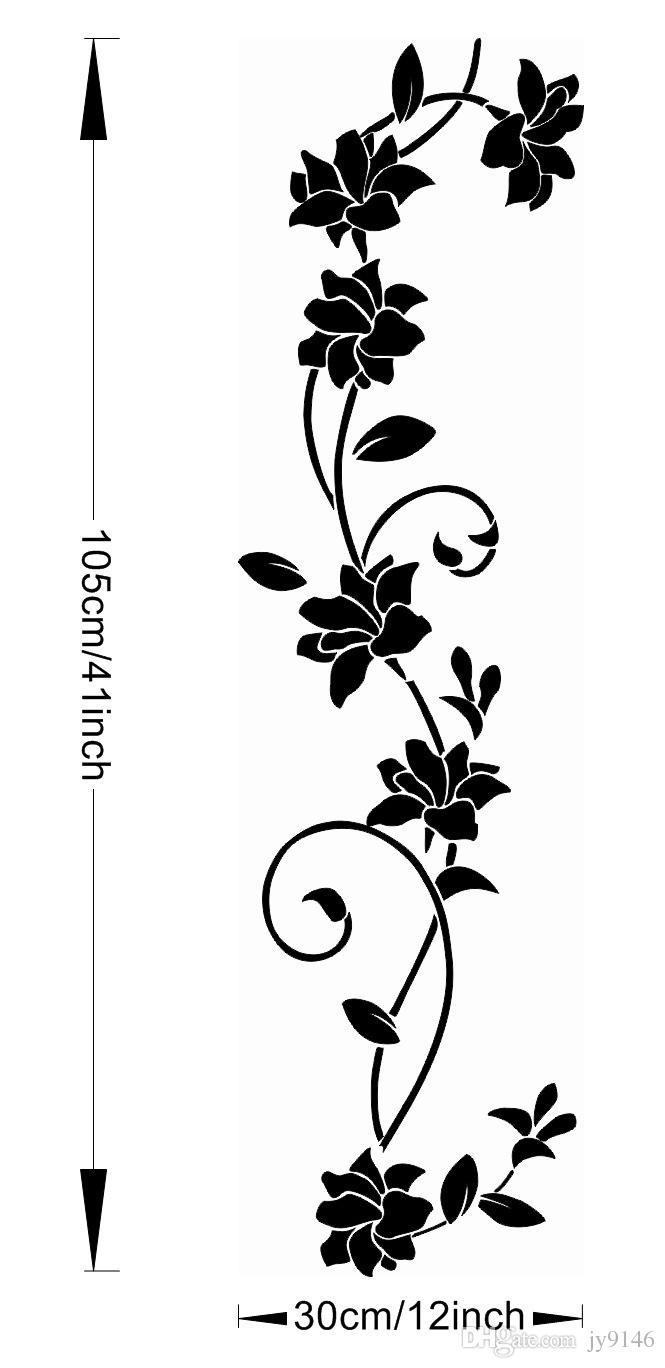 Classic Black Flower Vine Branch Wall Sticker DIY Eco-friendly Flower Plant Wall Art for Living Room Bedroom Wardrobe Decoration