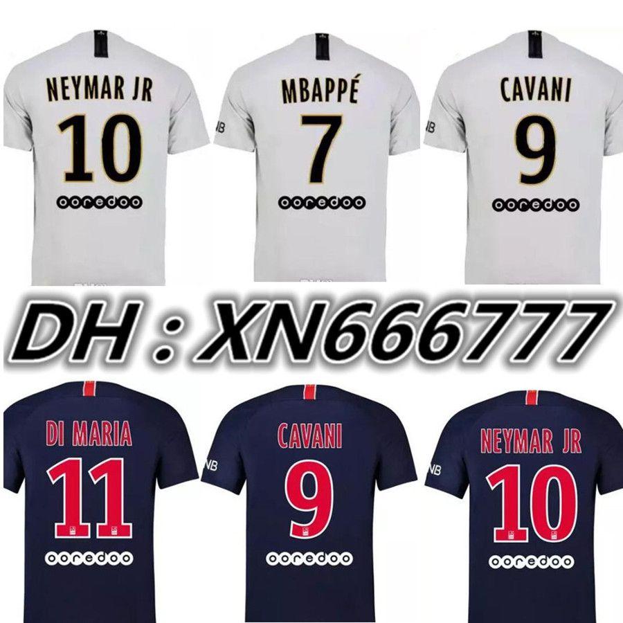 MBAPPE 7   NEYMAR JR 10   Jerseys De Visitante 18 19 CAVANI DI MARIA DANI  ALVES Camiseta 2019 Soccer Jersey Football Kit Maillot De Foot Por  Xn666777 c080c3109811d