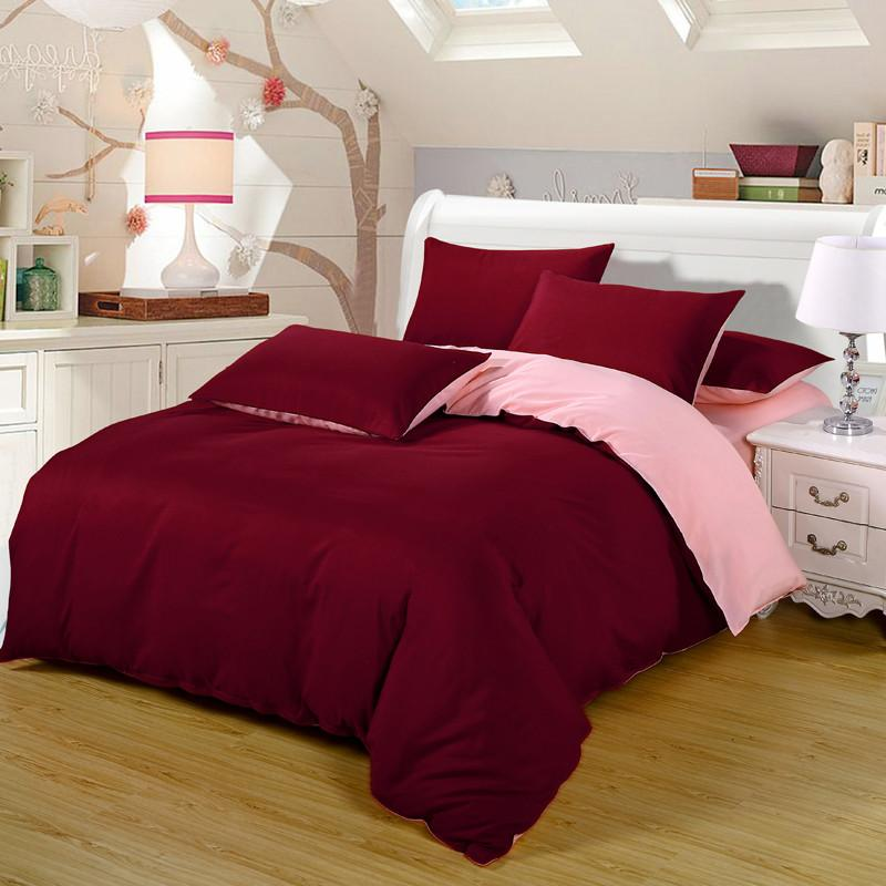 Burgundy/Pink Bedding Set Duvet Bed Cover Set King Sizes Home Textiles 4PCS Luxury Princess Bed Set Sweet Girls Dream Bedding
