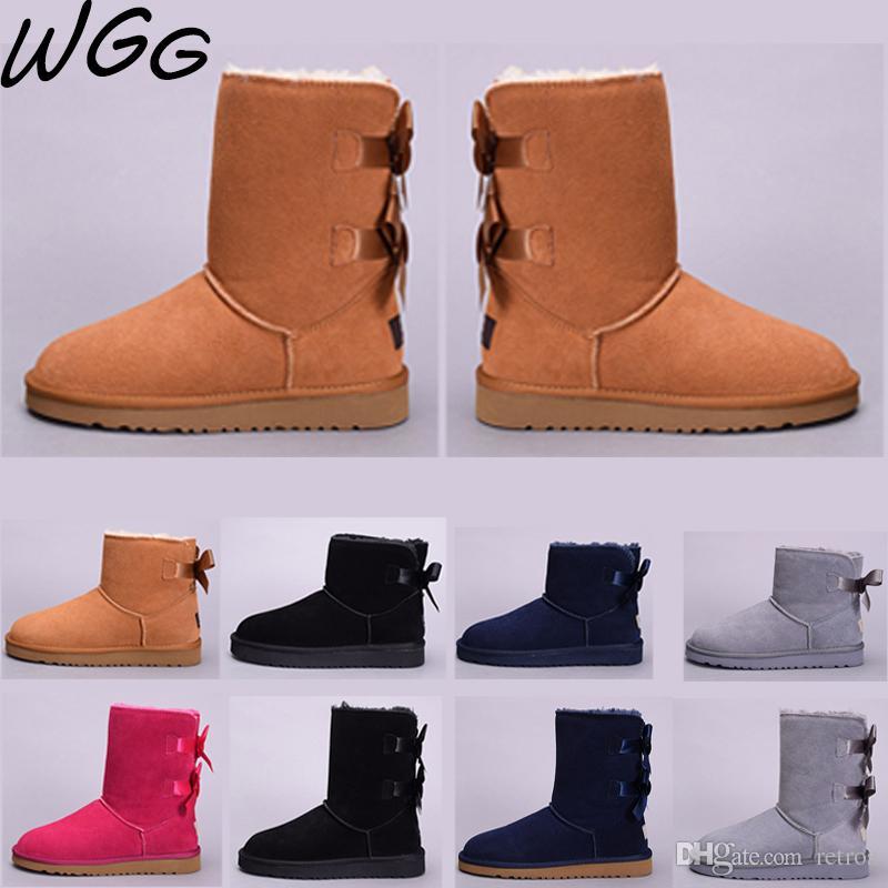 5044c582 UGG boots Clases WGG Clásico castaño Australia media rodilla botas para  mujeres niñas Negro Rojo Gris café Botas de nieve Bailey Bowknot zapatos ...
