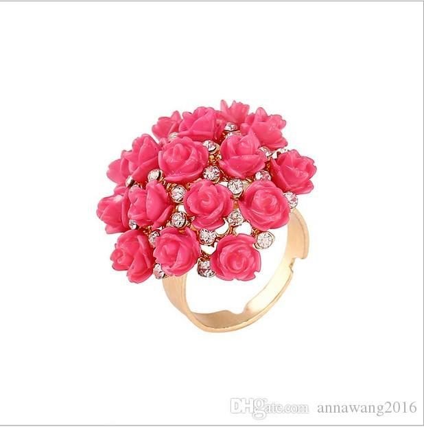 Gold Plated Gorgeous Rose Flower finger joint rings jewelry Rose Bouquet Ring Rhinestone CZ Crystal Fingernails Band Ring Women Accessories