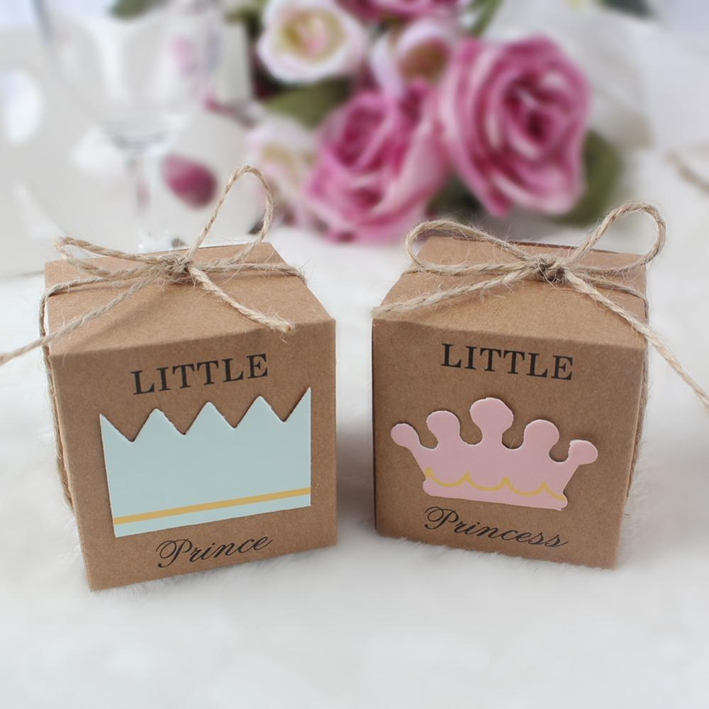 OurWarm Kraft Paper Gift Box First Birthday Boy Girl Party Little Prince Princess Favors Boxes Baby Shower Modern Christmas Wrapping
