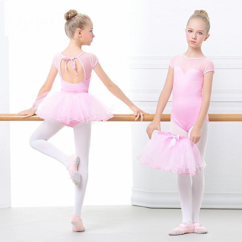 ef52c5e37 Compre Miúdos Ballerina Dress Dance Ballet Ginástica Vermelho   Rosa  Crianças Ballet Collant Lace Dress Para Meninas Roupas Bodysuit De Worsted