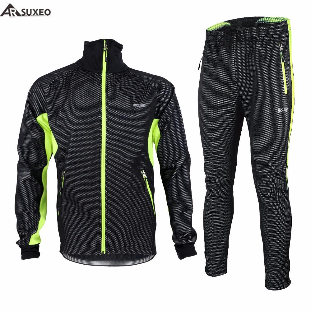 ARSUXEO Mens Winter Warm Up Thermal Cycling Bike Bicycle Jacket Pant ... 2d8dc42b9