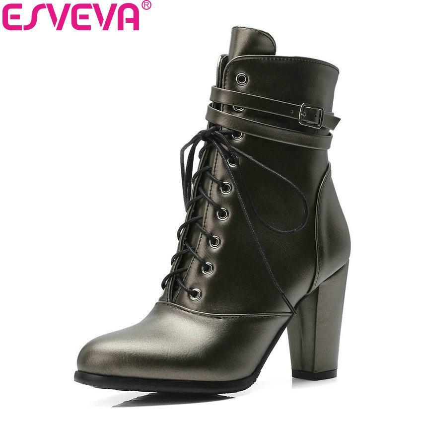 Acheter ESVEVA 2019 Femmes Chaussures Zipper Talons Carrés Bottines  Chaussures De Style Occidental Talons Bas Bout Pointu Automne Femme Bottes  Taille 34 43 ... 7bd22ddb1496