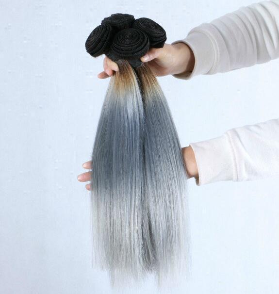 1b серый цвет Щепка серый Ombre волос ткать прямые человеческие волосы Щепка серый кружева закрытие с свободный средний три части