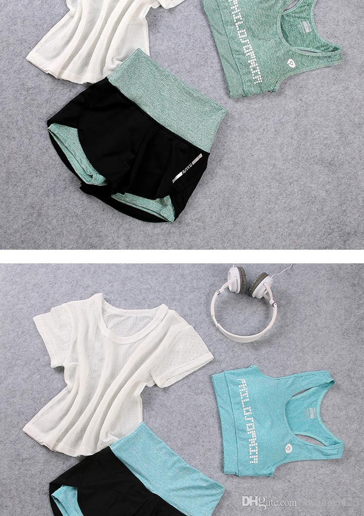 Korea purchasing spring and summer yoga clothes suit female gym running thin shorts three sets of fitness clothing