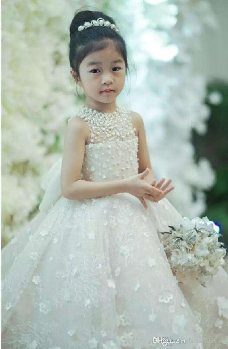 Sevimli Spagetti El Yapımı Çiçek Kız Elbise Yay Kemer Boncuk Prenses Çocuklar Kat Uzunluk Nedime Elbisesi Kız Pageant Balo