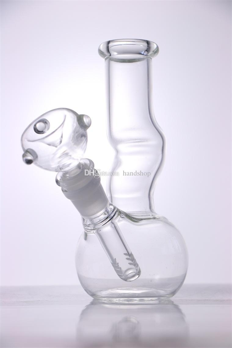 "HAND Mini Glass Bong ""clear UU"" 8 Inches Classics Z style Glass Bubbler portable Water pipe Good function Pipe"