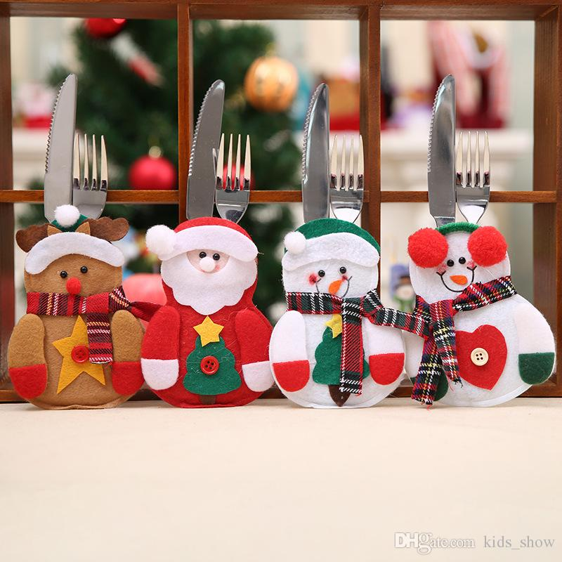cute snowman reindeer santa claus tableware cover bag christmas knife and fork bags christmas table decorations for home best christmas decorations best
