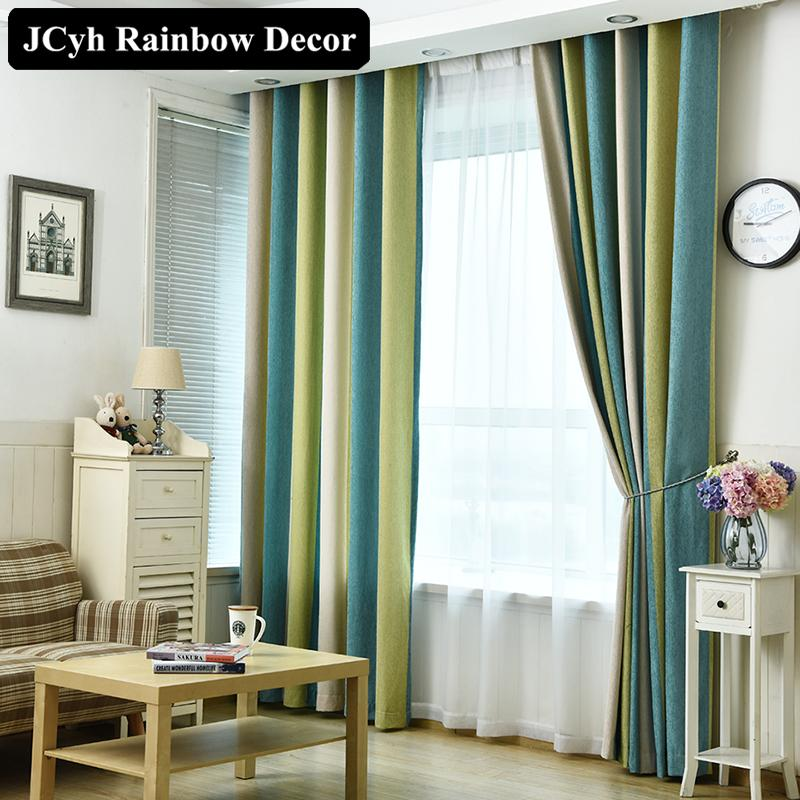 2019 High Quality Modern Blackout Curtains Striped Printed Chenille ...