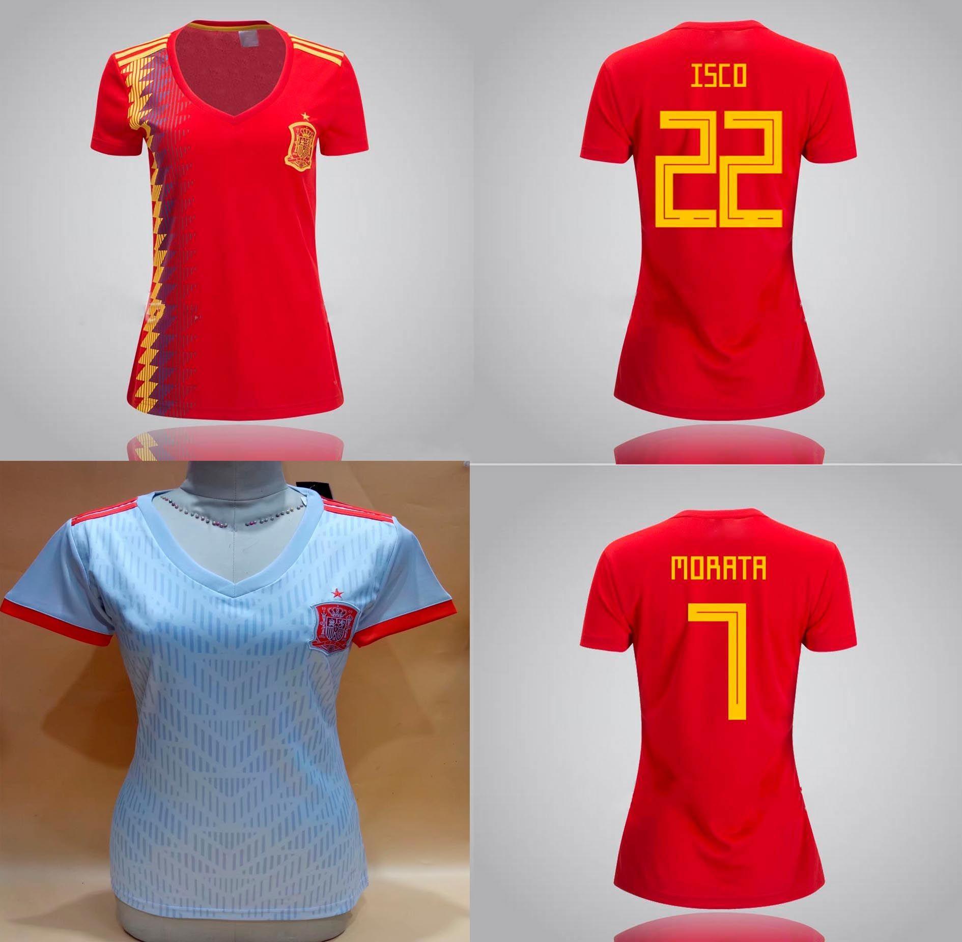9273a6ab6 2019 Womens Spain Home Away Soccer Jerseys 18 19 Morata ISCO ASENSIO Silva  Ramos Grils Football Shirt Espana World Cup 2018 Lady Soccer Uniforms From  ...