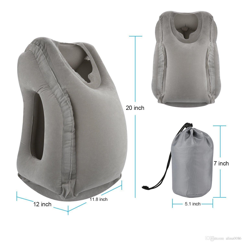 Grey gonfiabile Cuscino da viaggio ergonomico e portatile capo resto del collo del cuscino, Disegno brevettato gli aeroplani, automobili, autobus, treni Dormire in ufficio