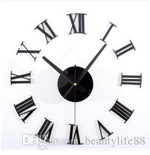 Une horloge murale métallique chiffres romains 3 d Horloge murale créative horloge bricolage or et argent